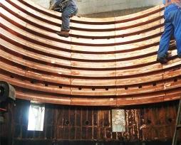 铅冶炼顶吹炉铜水套现场安装照片1