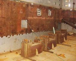 闪速炉沉淀池及贫化区铜水套现场安装照片1-3