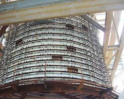闪速炉反应塔铜水套现场安装照片
