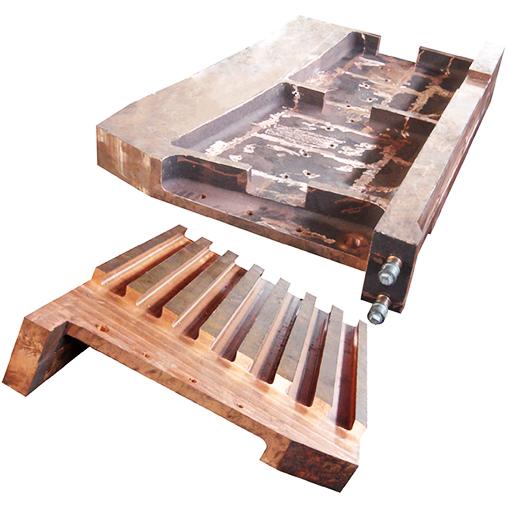 基夫赛特炉电热区烟气出口铜水套
