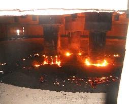圆形镍铁电炉铜水套现场使用照片